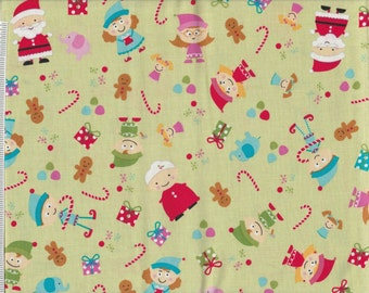Santa's Workshop  -1 yd - Riley Blake -  Elves and Toys on Mint Green