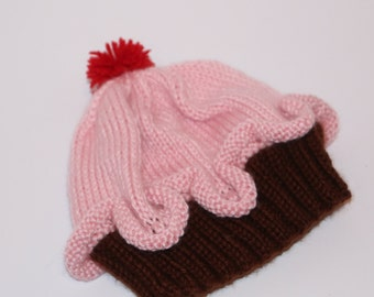Cupcake Baby/Toddler Cap Knitted Pink and Brown