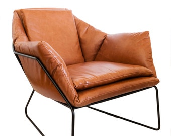 Mid Century Modern Leather Metal Frame Chair
