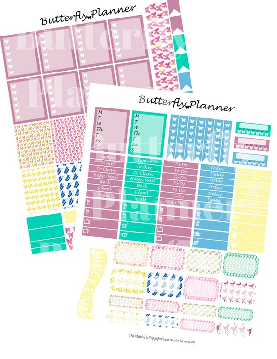Butterfly Printable Planner Stickers 2 Pages