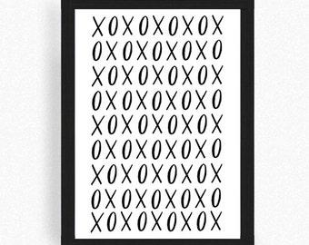 xoxo - xo print - illustration - art - typography - hand lettered