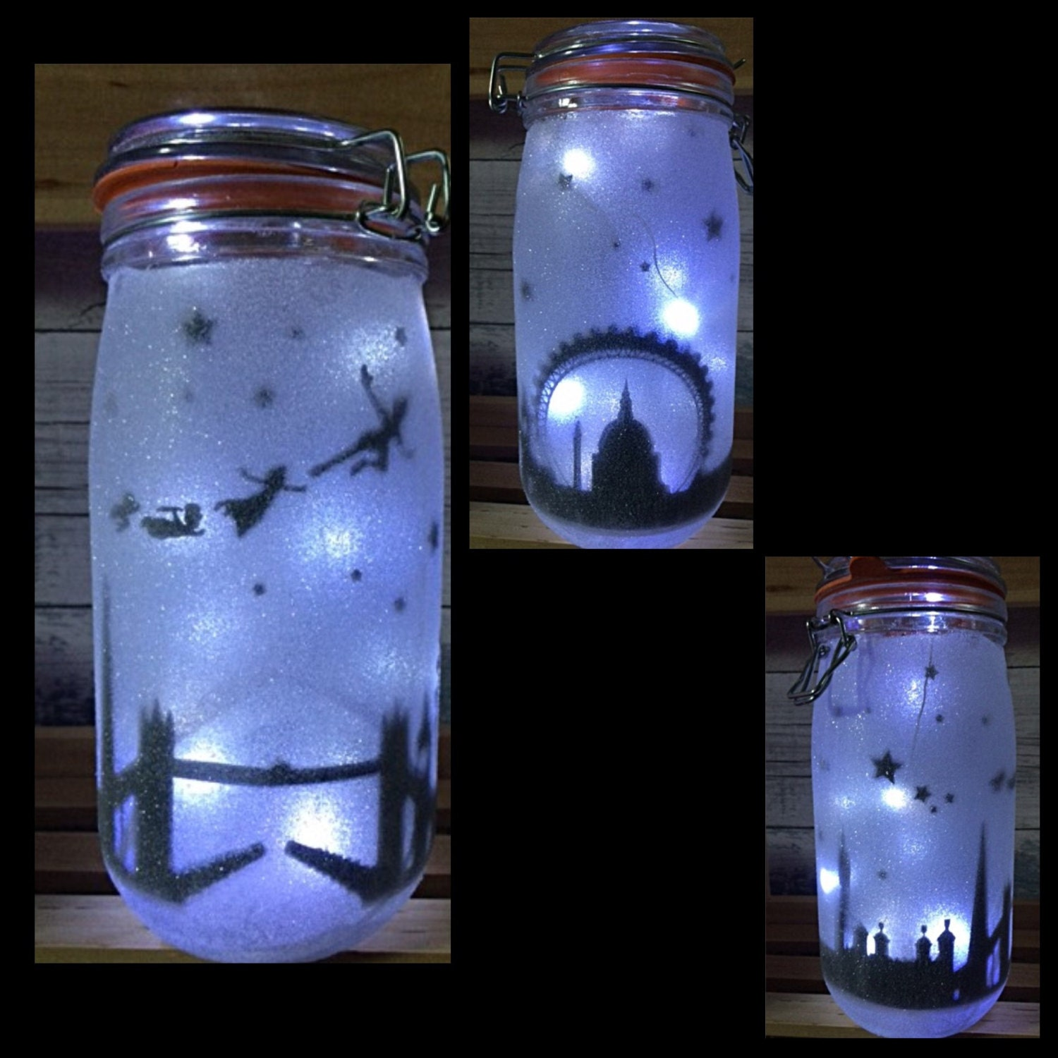 Night Light Mood Lighting London Skyline Fairy Jar Glitter