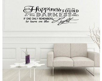 Harry Potter Vinyl Wall Quote:  Happiness Can Be Found by Albus Dumbledore