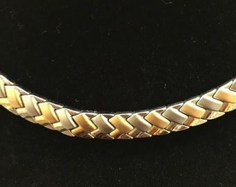 """Stainless Steel & 18k Gold Plated Braided Chain Necklace 17"""""""