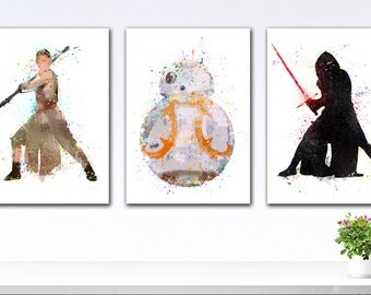 Star Wars Posters, Set Star Wars 7, Star Wars Art Print, Posters Star Wars, Star Wars Art, Star Wars VII, Watercolor Star Wars Set Posters