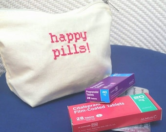 Make up or Medicine Bag, happy pills, take your meds antidepressants, pill reminder, medication, spoonie gift, mental health awareness