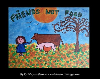 """Art for animals - A4 print """"friends not food"""""""