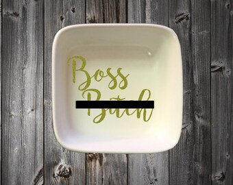 Boss B*itch Ring Dish, Custom Ring Dish, Boss Bitch, Boss Bitch Jewelry Dish, Jewelry Dish, Wedding Gift