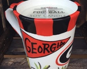 University of Georgia, Bulldogs Ceramic Coffee Mug Soy Candle, Hand Poured, Choose Your Scent