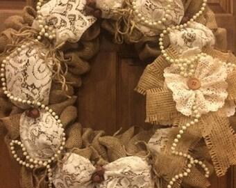 Shabby Chic Burlap Wreath