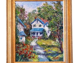 "Charles Nivens ""Summer Cottage"" Oil on Canvas"