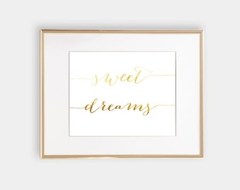 sweet dreams girl nursery quote digital art print gold foil quote