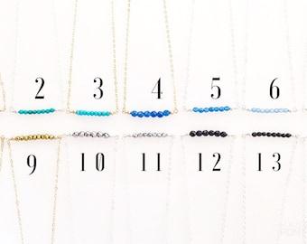 Beaded Bar Necklaces/ Gemstone Bar Necklaces/ Layering Gemstone Bead Bar Necklaces/ Short Gemstone Bead Bar