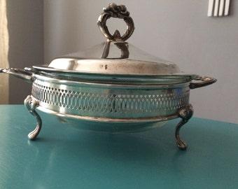 Fire King Glass Silver Casserole Serving Dish