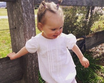 White linen pleated playsuit / romper
