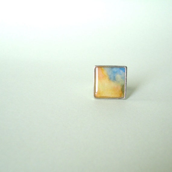 Resin ring, contemporary ring, abstract ring, watercolor ring, orange ring, adjustable ring