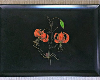 Vintage Couroc Tray with Tiger Lilies (Free Shipping)