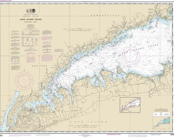 2015 Nautical Map of Long Island Sound Western Part New York