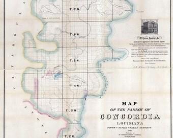 1860 Map of Concordia County (Parish) Louisiana