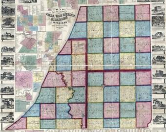1859 Farm Line Map of Cass Van Buren and Berrien County Michigan City of Niles