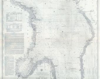 1897 Nautical Map of Lake Huron