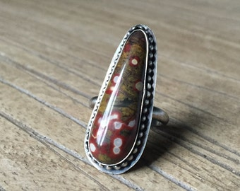 Poppin' Poppy Jasper & Oxidized Sterling Silver, Size 8
