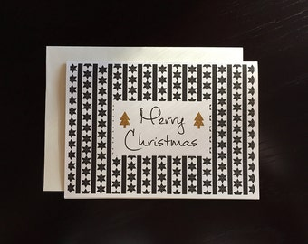 Black, White and Gold Christmas Greeting Card