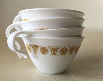 Vintage Corelle Butterfly Gold Hook Tea Cups - Set of 4