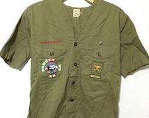 50's vintage boy scout shirt short sleeve khaki patches size S