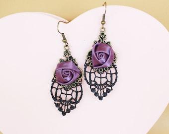 Handmade Vintage Black Lace Dangle Earring,Victoria earring, purple rose drop earring