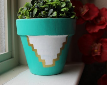Desert Print Hand Painted Terra Cotta Flower Pot **SALE**