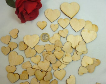 50 PCs hearts mix assortment of wooden hearts, table decorations DIY craft with wood decoration DIY even make wedding scrapbooking napkin technique