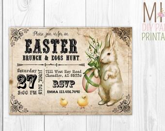 Vintage Easter Brunch Invite,Easter Invitation,Easter Egg Hunt, Easter Party, Easter Birthday Party Invitation,Easter Invitation Printable