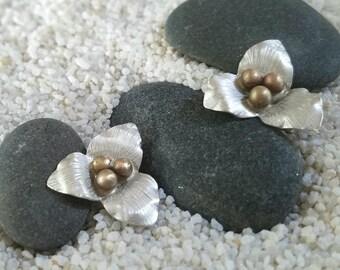 Trillium Stud Earrings, Genuine Sterling Silver