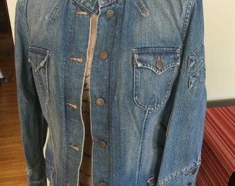 Military style jean denim  jacket army size large