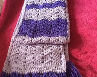 Light and dark purple crochet scarf with tassels