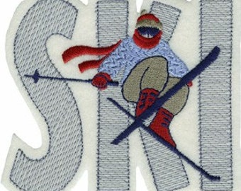 "4 3/8"" by 4 7/8"" Iron On SKI Applique Winter & Christmas Sew On Patch w/ Free Shipping"