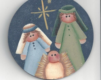 Holy Family Handpainted Ornament
