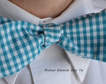 Light Blue Check Bow Tie, Blue Check Bowtie, Mens Freestyle Bow Tie, Self-Tie Bow Tie, Blue Check Bow Tie, Mens Checked Bowtie, Wedding, Tie