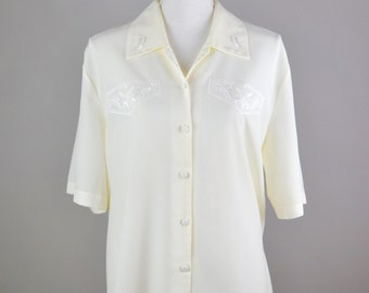 Vintage Ivory Blouse  |  Blouse with Embroidered Detail  |  Vintage Ladies White Blouse