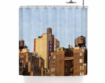 nyc shower curtain, new york city decor, manhattan photography, urban decor, shower curtain, new york city bath decor, nyc water towers