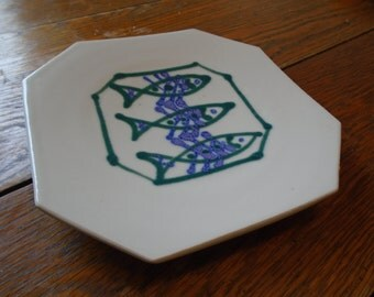 """Vintage Hand-Painted, Hand-Built, Porcelain """"Three Fish Dish"""" 7 by 7 Inches - Perfect Condition"""