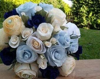 Light Blue Ivory Green White Wedding Bride Bouquet, crepe paper, paper flowers
