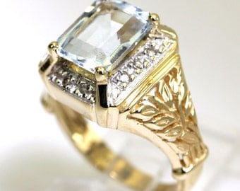 Diamond aquamarine vintage ring 14K yellow gold round emerald cut 3.20CT details