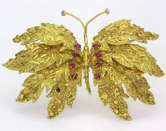 Antique Tiffany & Co diamond ruby butterfly brooch pin 18K yellow gold .60C 45GM