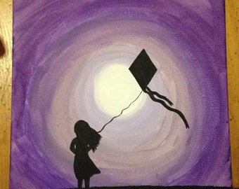 Girl With Kite Silhouette
