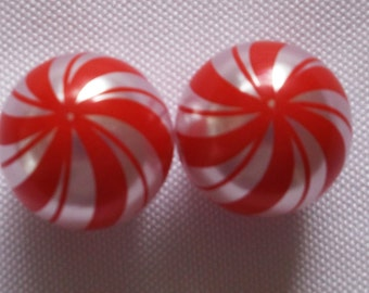 20mm Peppermint Swirl Bubblegum Bead, Peppermint Bead, 20mm Christmas Bead,Gumball Bead,20mm Bead,20mm Bead,20mm Chunky Bead,Chunky Necklace