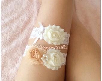 Bridal garter set Wedding garter set Keepsake Garter Toss Garter mocha  shabby chic bridal garter