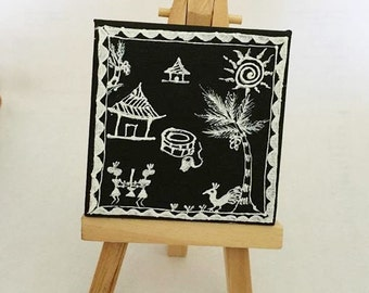Tribal Warli Painting of village on mini canvas -FREE SHIPPING USA -culturelink