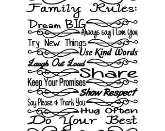 family rules svg digital cut file